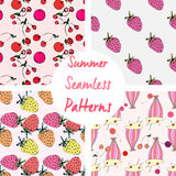 Set of cute summer vector seamless patterns Stock Images