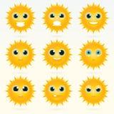 Set of cute sun emoticons. Royalty Free Stock Photo