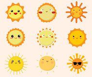 Set of cute sun icons Royalty Free Stock Image