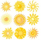 A set of cute sun image in various vector technic Stock Images