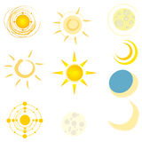 Set of cute suns and moons Royalty Free Stock Photos