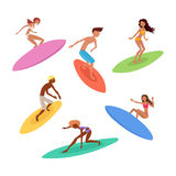 Set of cute surfers with surfboards. Surfing characters. Royalty Free Stock Images