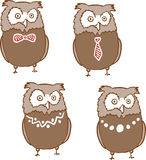 Set of cute surprised owls Royalty Free Stock Images
