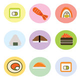 Set of cute sushi roll Japanese cuisine Royalty Free Stock Photo