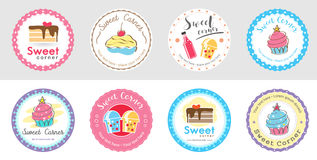 Set of cute sweet bakery badge label and logo Royalty Free Stock Photography