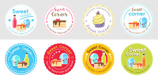 Set of cute sweet bakery badge label and logo for sticker. And sign stock illustration