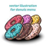 Set of cute sweet colorful donuts Stock Photography
