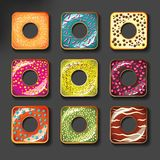 Set of cute sweet colorful donuts  set Stock Photography