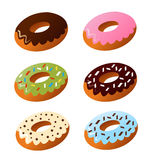 Set of cute sweet colorful donuts Royalty Free Stock Photo