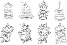 Set of cute sweet cupcakes. Hand drawing set of cute sweet cupcakes Stock Photography