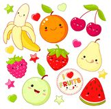 Set of cute sweet fruit icons in kawaii style Royalty Free Stock Photo