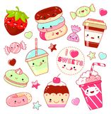 Set of cute sweet icons in kawaii style. With smiling face and pink cheeks for sweet design. Sticker with inscription I love sweets. Donuts, candy, cap with Royalty Free Stock Photo