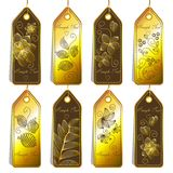Set of cute tags. With floral pattrerns Stock Photos