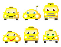 Set of cute taxi cars. Horizontal set of cute funny machines taxi Stock Image