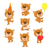 Set of cute teddy bear character standing, sitting, reading Royalty Free Stock Photos