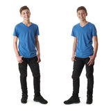 Set of cute teenager boy over white isolated background. Cute teenager boy in blue T-shirt standing over white isolated background full body royalty free stock image