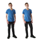 Set of cute teenager boy over white isolated background. Cute teenager boy in blue T-shirt standing over white isolated background full body Royalty Free Stock Photo