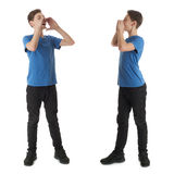 Set of cute teenager boy over white isolated background. Cute teenager boy in blue T-shirt standing with megaphone sign over white isolated background full body Royalty Free Stock Photo