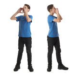 Set of cute teenager boy over white isolated background. Cute teenager boy in blue T-shirt standing with megaphone sign over white isolated background full body Stock Images