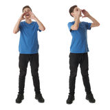 Set of cute teenager boy over white isolated background. Cute teenager boy in blue T-shirt standing with megaphone sign over white isolated background full body Stock Photo