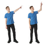 Set of cute teenager boy over white isolated background. Cute teenager boy in blue T-shirt standing and poinitng up side over white isolated background full body stock photo