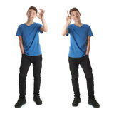 Set of cute teenager boy over white isolated background Stock Photo