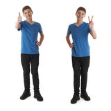 Set of cute teenager boy over white isolated background Royalty Free Stock Image