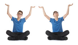 Set of cute teenager boy over white isolated background Stock Image
