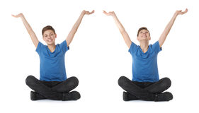 Set of cute teenager boy over white isolated background Royalty Free Stock Photography