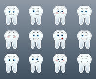 Set of cute teeth smile stickers. Set of 12 cute teeth emoticon smile stickers vector illustration