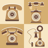 Set of cute telephone and vintage style icon Royalty Free Stock Photos
