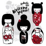Set of cute traditional japanese dolls - kokeshi Royalty Free Stock Photo
