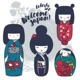 Set of cute traditional japanese dolls - kokeshi. Vector illustration in cartoon style Stock Images