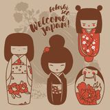 Set of cute traditional japanese dolls - kokeshi Royalty Free Stock Photos
