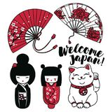 Set of cute traditional souvenirs of Japan or another asian countries. Set of cute traditional souvenirs of Japan: asian hand paper fans, kokeshi - wooden doll Stock Images