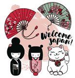 Set of cute traditional souvenirs of Japan or another asian countries. Set of cute traditional souvenirs of Japan: asian hand paper fans, kokeshi - wooden doll Royalty Free Stock Images
