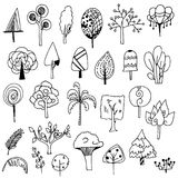 Set of cute tree doodle vector on white background Royalty Free Stock Image