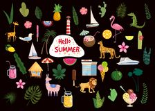 Set of cute trendy hello summer icons food, drinks, cactus, flowers, palm leaves, fruits, ice cream, bungalow, hotel royalty free illustration