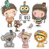 Set of Cute tribal girl and boy and animals stock illustration