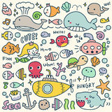 Set of Cute Under the Sea Doodle. Colorful Under the Sea Doodle Stock Image