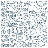 Set of Cute Under the Sea Doodle. Colorful Under the Sea Doodle Royalty Free Stock Photos