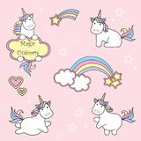 Set of cute unicorn icons, rainbow and stars, child vector illustration, cartoon design vector illustration