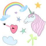 Set of Cute Unicorn, Stars, Rainbow,Bow, Heart on White Background Vector Illustration. Set of Beautiful Unicorn With Closed Eyes Pink Mane, Bow, Stars, Rainbow Royalty Free Stock Photo