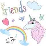 Set of Cute Unicorn, Stars, Rainbow,Heart on White Background Vector Illustration. Set of Beautiful Unicorn Pink Mane, Opened Eyes, Stars, Rainbow, Heart Cartoon Royalty Free Stock Photo
