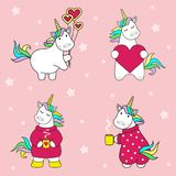 Set of cute unicorn icons with balls, with a cup of tea, with a heart, rainbow and stars, child illustration, cartoon desig royalty free illustration
