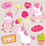 Set of cute unicorns stickers in kawaii style Royalty Free Stock Images