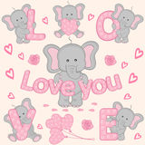 Set of cute valentine elephant part 1 Stock Photography
