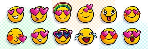 Set of cute valentine emoticons in love. vector illustration