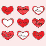 Set of cute Valentine hearts Stock Photo