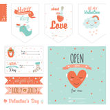 Set of cute Valentines day gift tags Royalty Free Stock Photography